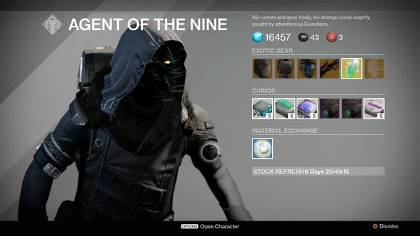 Destiny xur agent of the nine items and location for july 3 4 week