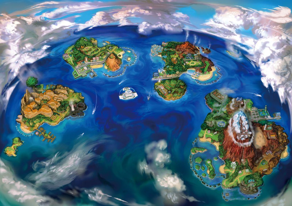 Pokemon Sun and Moon islands artwork