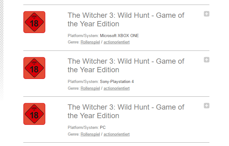 The Witcher 3 Wild Hunt German rating