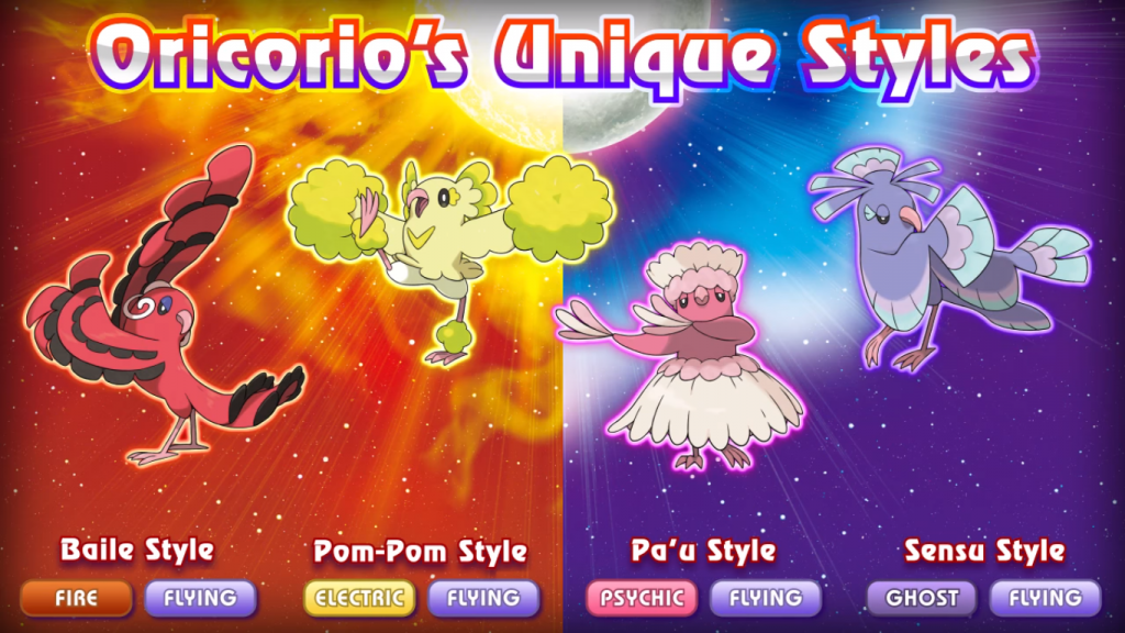 Pokemon Sun & Moon Oricorio's Unique Styles