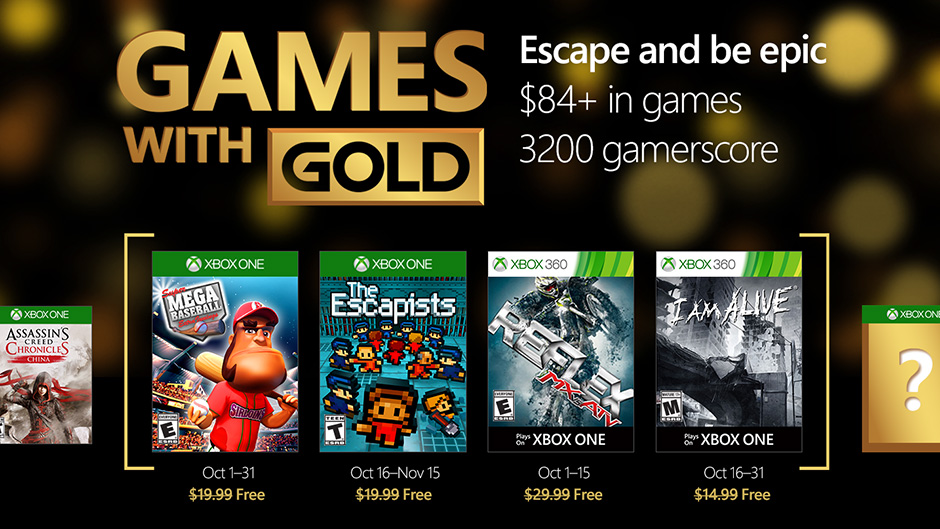 Xbox Live Games With Gold Announced For October 2016