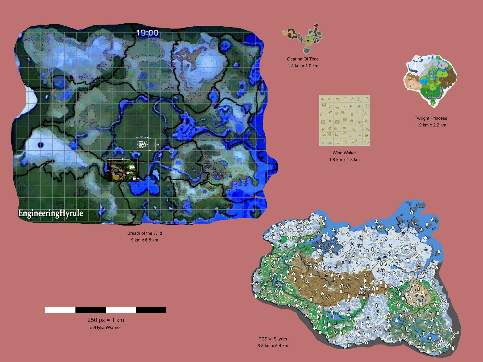 The legend of zelda breath of the wild world map revealed the world map in zelda breath of the wild is around 15 times of the area in the elder scrolls skyrim of course the whole world map isnt really gumiabroncs Gallery