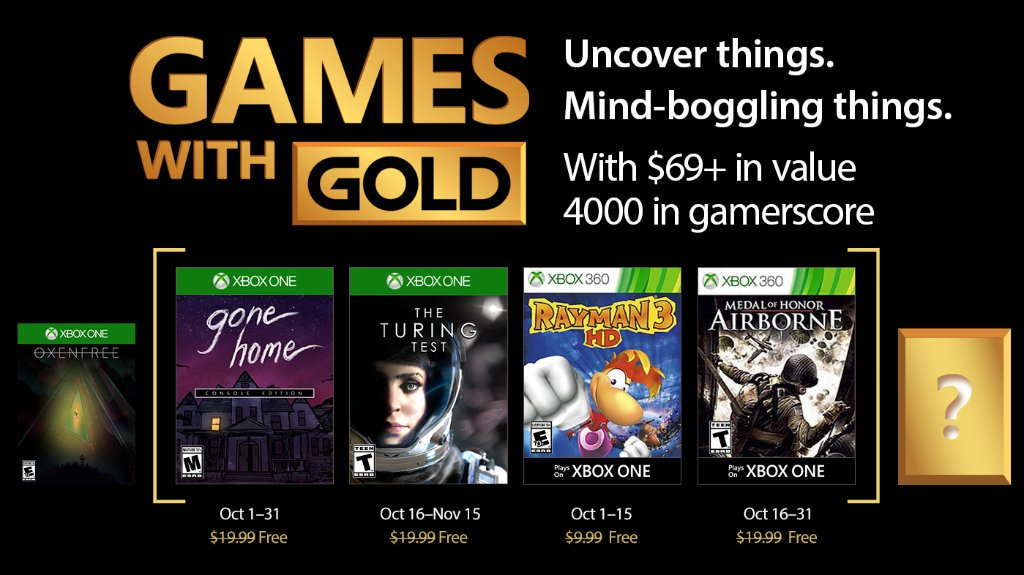October 2017's Games With Gold titles revealed for Xbox One, 360