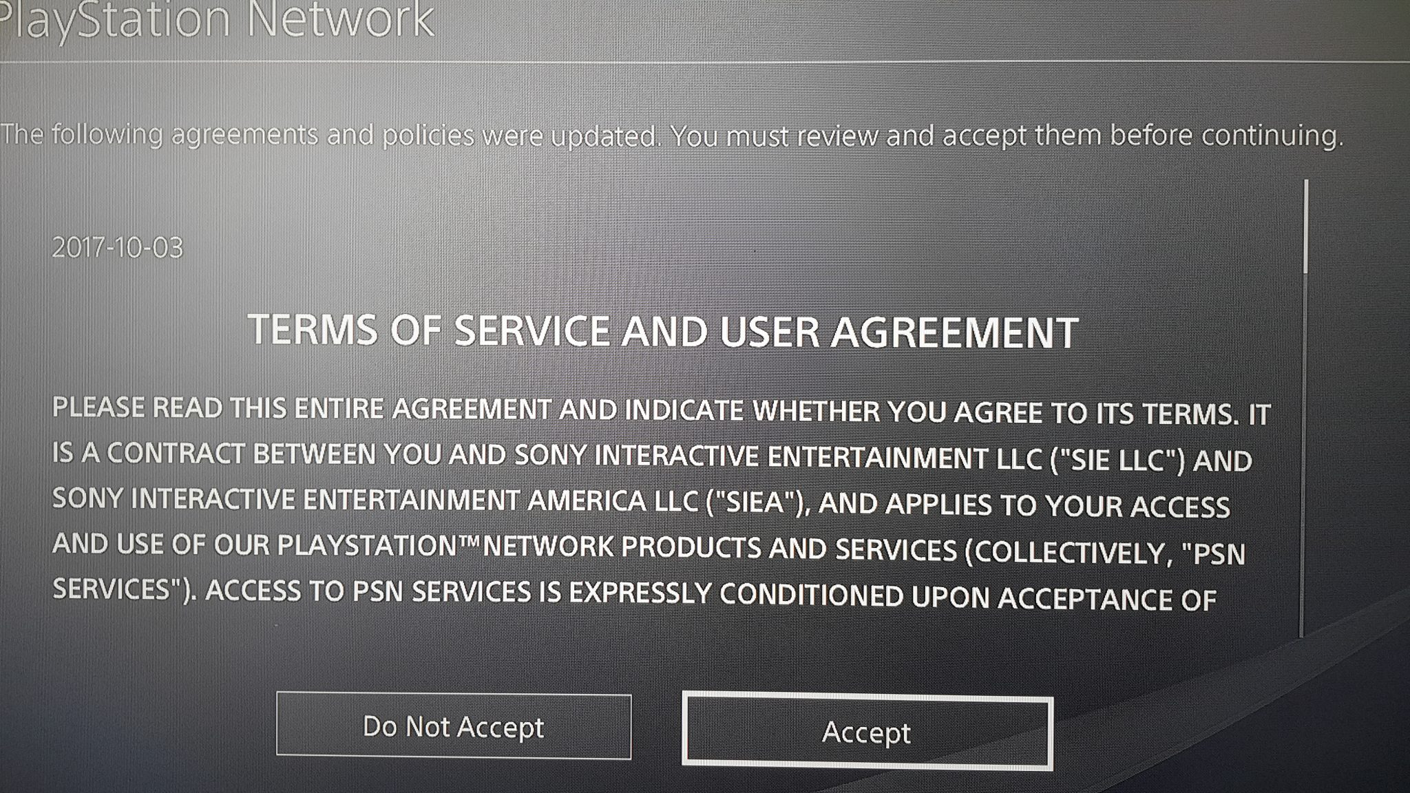 playstation network revised terms of services forcing