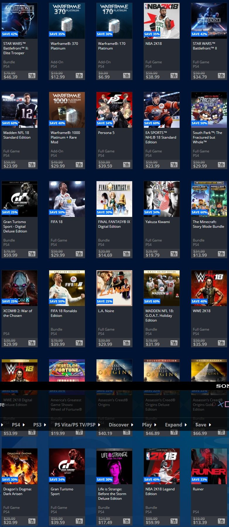 Playstation 12 deals of christmas 2018