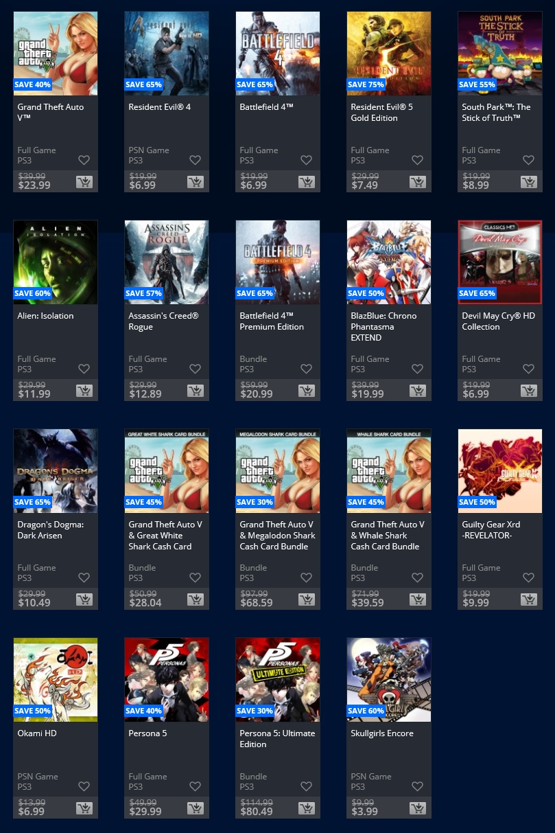 Psn deals january 2018