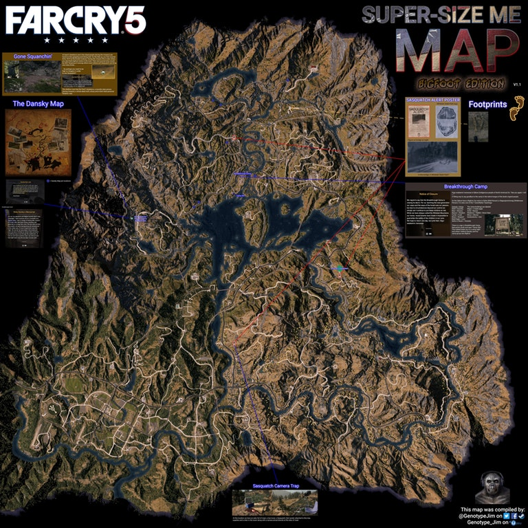 Far Cry 5 Full World Map With Location Of All Bigfoot Easter Eggs
