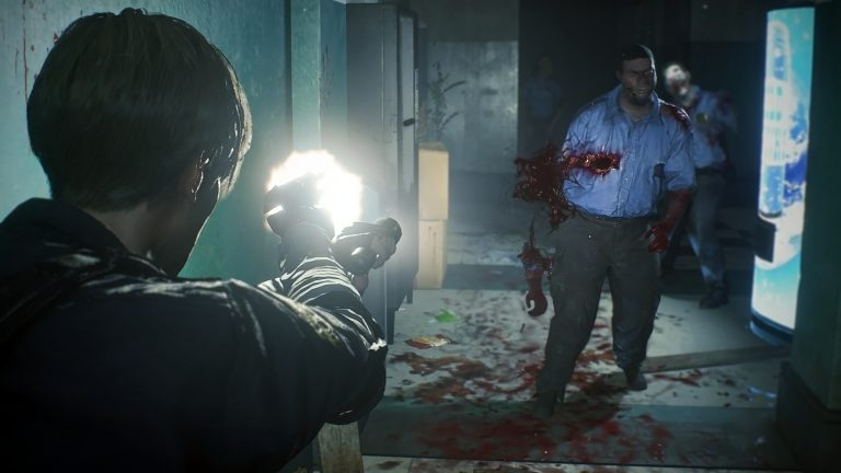 Resident Evil 2 gameplay shows a guy getting ripped in half