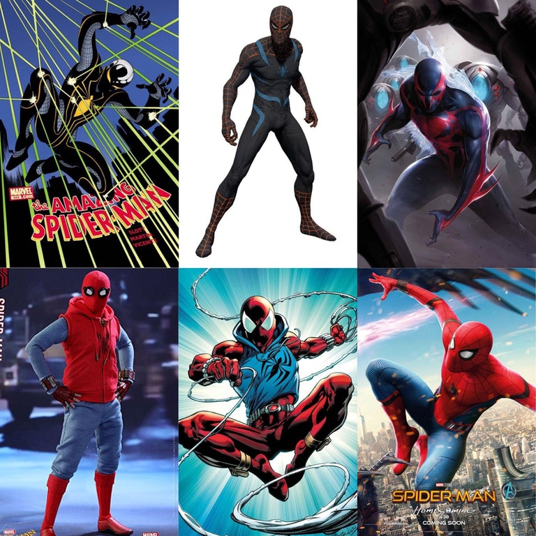 The Spider-Man Suit is a specialized suit used by Peter Parker to protect his identity as Spider-Man. Originally consisting of a hoodie with a spider symbol, blue pants, a blue shirt, and a red mask with black goggles to help him focus his senses, the suit received a