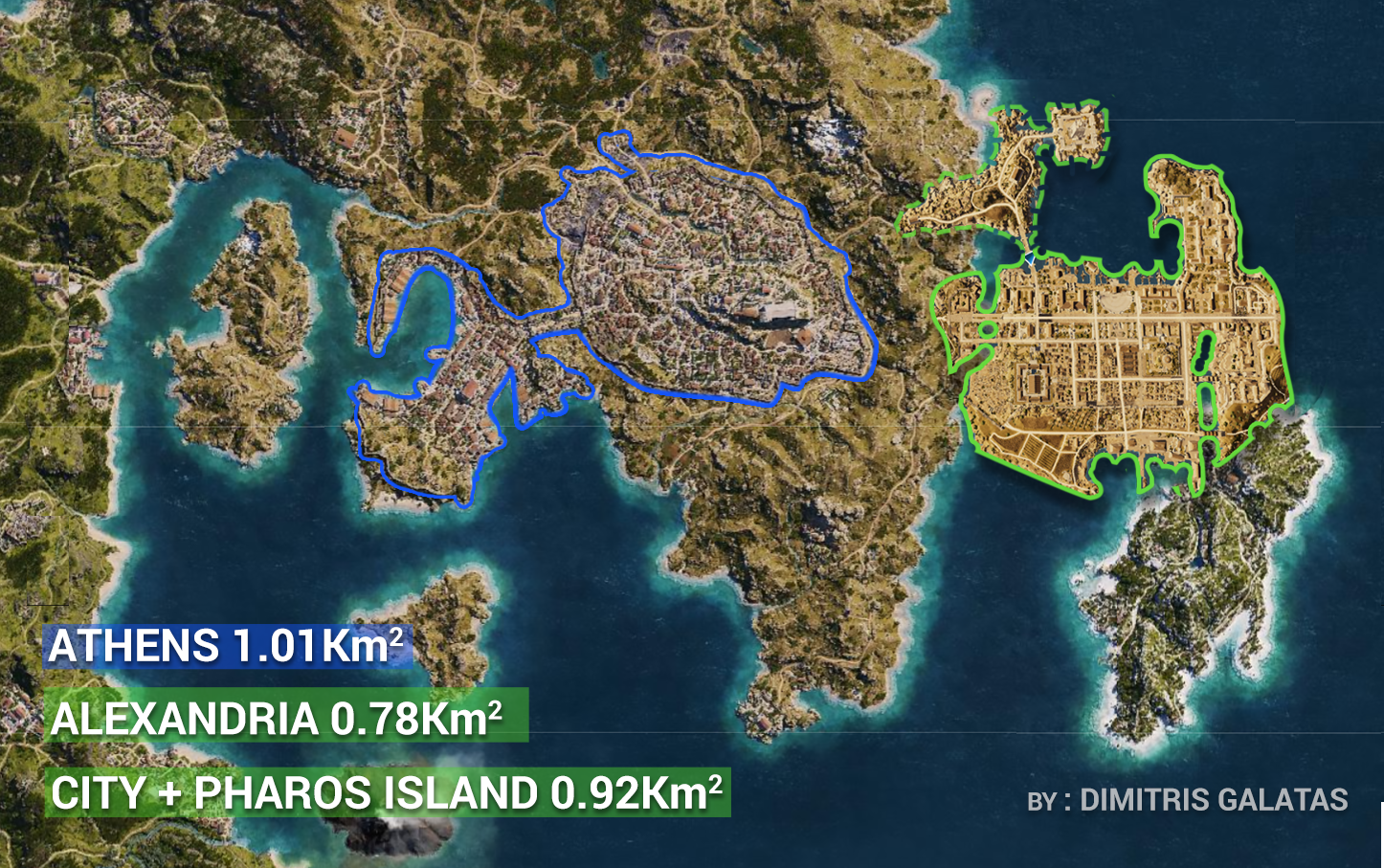 Assassin S Creed Odyssey World Map Size Comparison With Origins Athens Vs Alexandaria