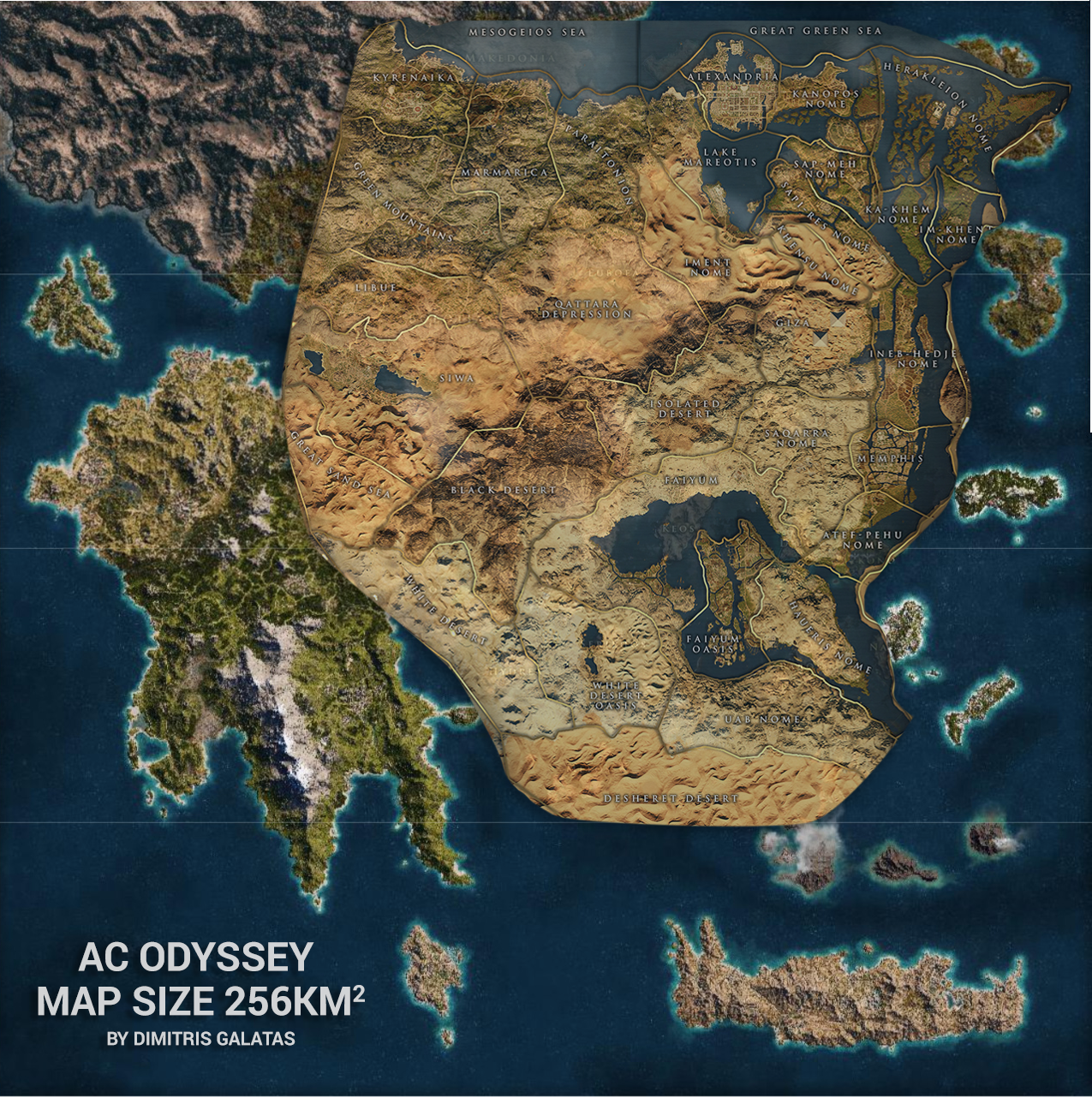 Assassin S Creed Odyssey World Map Size Comparison With Origins